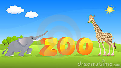 Zoo theme illustration with elephant and giraffe