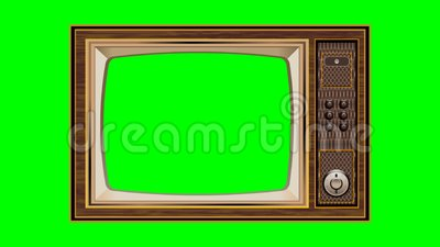 Zoom out Shot of a old tv with Horizontal Green Screen Mock Up lizenzfreie abbildung
