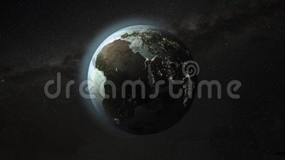 Zoom on rotating Earth. Zoom from a rotating Earth to USA and then to New York