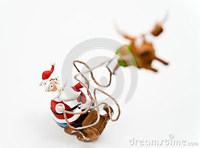 Zoom in Santa Claus in sleigh