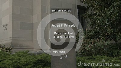 U.S. Department of Justice Sign and Building in Washington, D.C. stock video