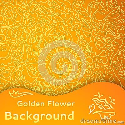 Złotego kwiatu bezszwowy tło.