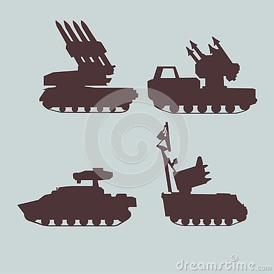 Military equipment set of anti-aircraft missile systems. Vector graphics. Vector Illustration