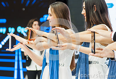 ZTE PRESENTATION, MOBILE WORLD CONGRESS 2014 Editorial Photo