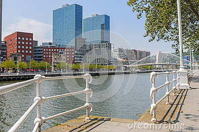 Zubizuri Bridge in Bilbao, Spain Editorial Stock Image