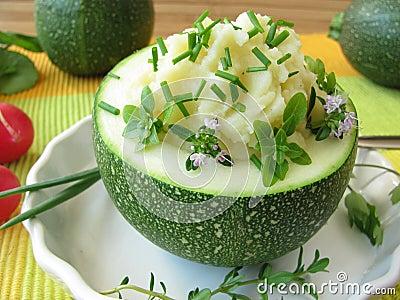 Zucchini ball stuffed with mashed potatoes