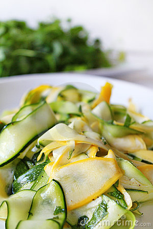 Zucchini or courgette summer fresh salad