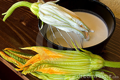 Zucchini Flower In Bowl With Batter