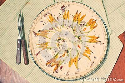 Zucchini flowers and feta cheese tart