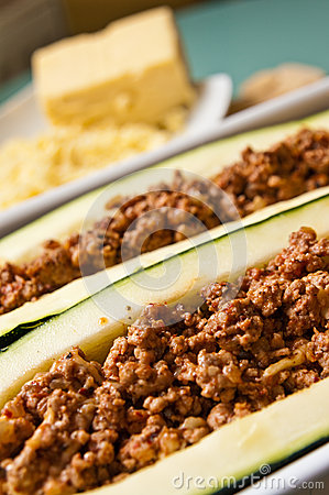 Zucchini with spicy meat stuffing
