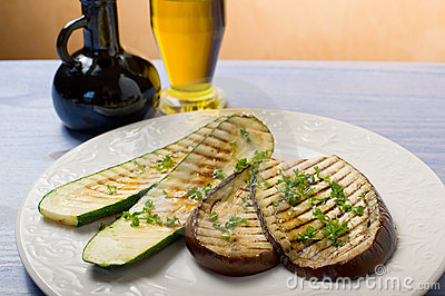 Zucchinis and eggplants grilled