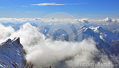 Zugspitze mountain and clouds