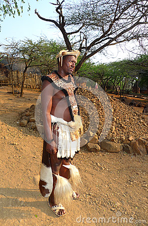 Zulu warrior at the Great Kraal in Shakaland Zulu Village, Soth Africa Editorial Stock Photo