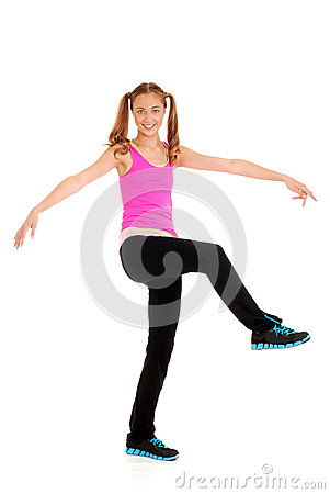 Zumba fitness with teen girl