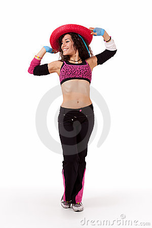 Zumba instructor with hat