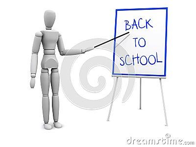 Zurück zu der Schule, die auf Vorstand zeigt