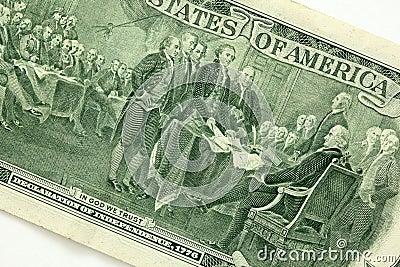 Zurück von einem zwei Dollarschein