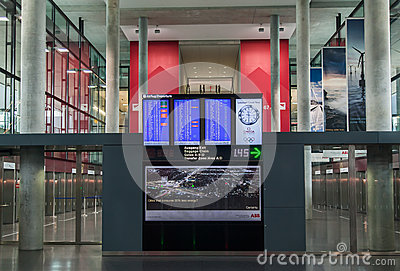 Zurich Airport Flight Display Editorial Image
