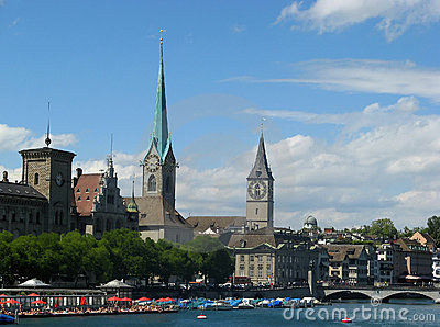 Zurich cityscape in summer