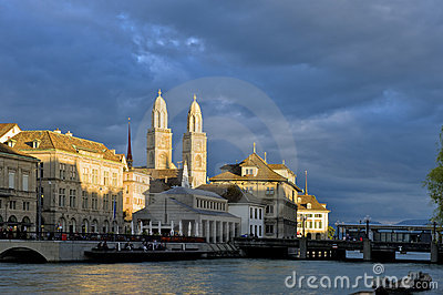 Zurich old town and Grossmunster at Sunset Editorial Image