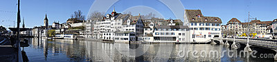 Zurich Old Town Panorama Editorial Stock Image