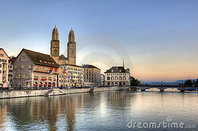 Zurich sightseeing old town at sunset