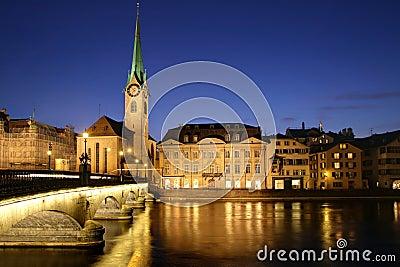 Zurich at twilight 01, Switzerland
