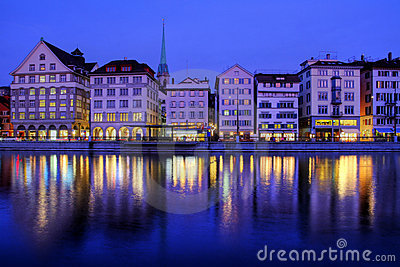 Zurich waterfront at night, Switzerland