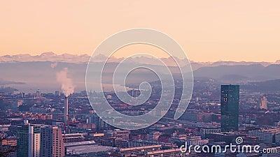 Zurigo City Sunset Grand Vista autunno Europa Svizzera - 50 mm Nessun suono stock footage