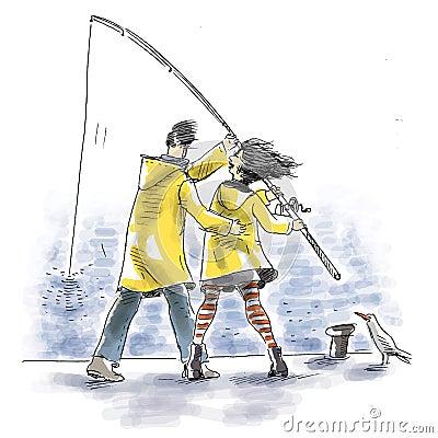 Zusammen fischen