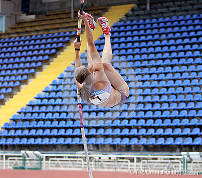 Zuzina Olga competes in pole vault competition Editorial Image