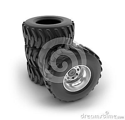 Zware de wielenreeks van de tractor die op wit wordt geïsoleerdt