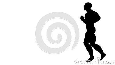 Zwart silhouet van een lopende mens Alpha Channel Alpha- steen 4K stock video