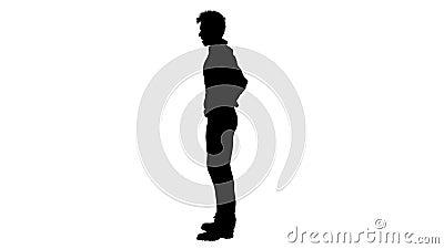 Zwart silhouet van een spreker Alpha-kanaal Alfa matte FullHD stock videobeelden