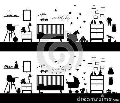 Zwart silhouet van twee binnenland van het meisje als de jongen van de babyruimte zowel royalty - Lay outs ruimte van de jongen ...
