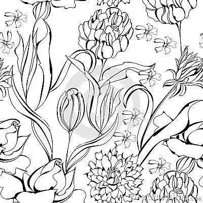 Zwart-wit naadloos behang. Universeel malplaatje voor groetkaart, Web ...