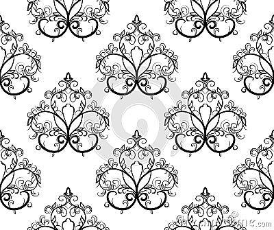 Zwart-wit naadloos patroon. Vector illustrat