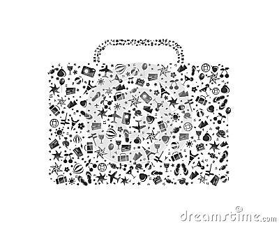 Zwart-witte bagage wordt samengesteld die van