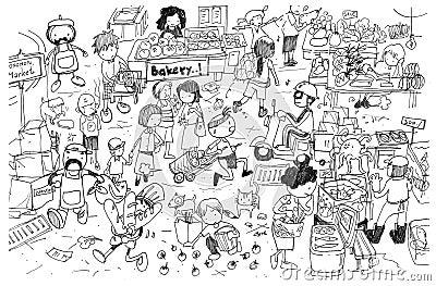 Zwart-witte tekening van bezig marktbeeldverhaal