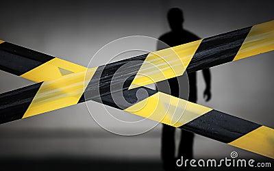 Zwarte en gele gestreepte banden en overtreder