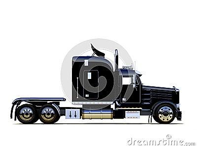 Zwarte krachtige vrachtwagen