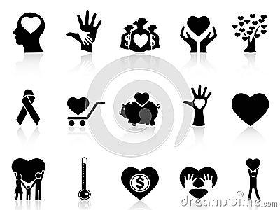 Zwarte liefdadigheid en schenkingspictogrammen