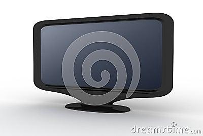 Zwarte monitor met blauwe schaduw