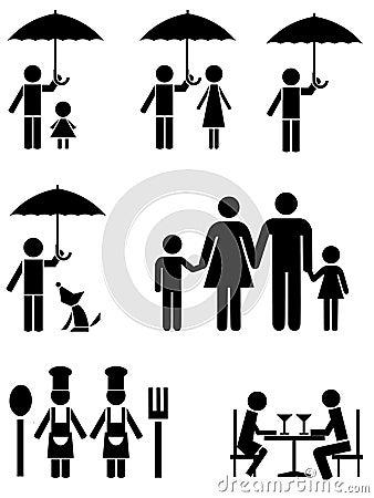 Zwarte pictogrammen van familie, de voedseldienst, en paraplu.