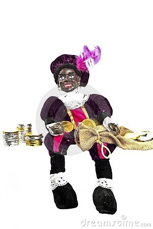 Zwarte Piet with his bag full of money