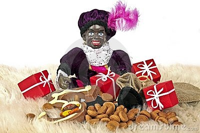 Zwarte Piet with presents and sweets