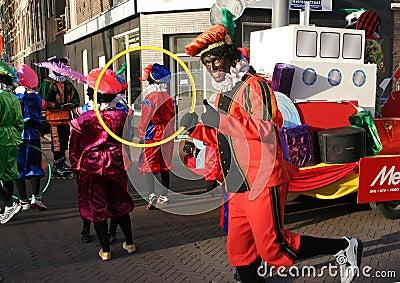 Zwarte Piet at Santa Claus festival Editorial Stock Image