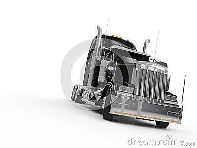 Zwarte zware vrachtwagen