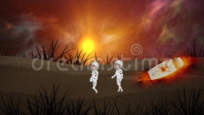 Zwei Astronauten, die auf verschiedenen Planeten laufen, Mond-Erde mit Raumschiffen Die Sonne scheint über den Planeten, kosmisch lizenzfreie abbildung