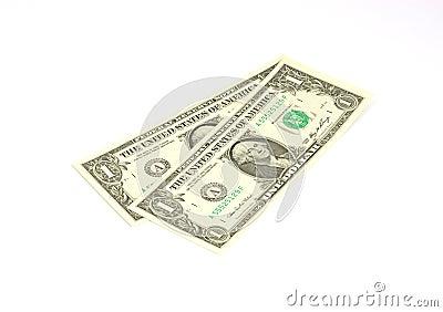 Zwei ein Dollarscheine schräg